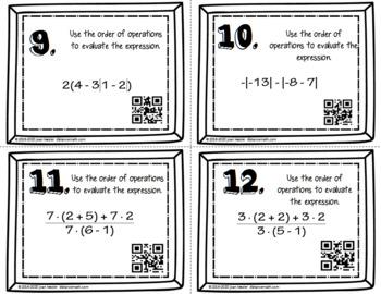 Algebra Order of Operations Task Cards QR plus Quiz and Organizer