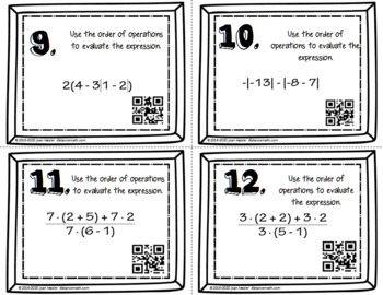 Algebra Order of Operations Task Cards QR plus HW and Organizer