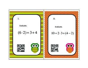 Algebra Order of Operations Task Cards with QR Codes