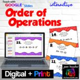 Algebra Order of Operations Digital Task Cards with GOOGLE Slides