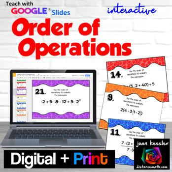Algebra Order of Operations  GOOGLE Slides  Digital Task Cards