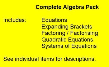 Algebra Pack - Worksheets - Whiteboard