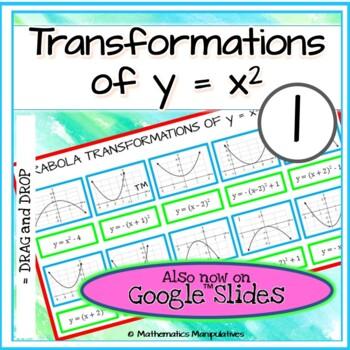 Algebra Parabola Transformations of y = x2 Graphs Match-Up 1