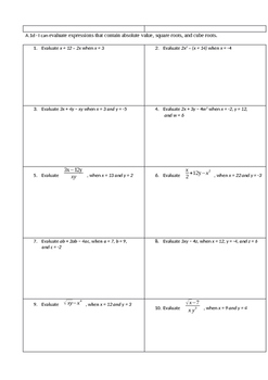 Algebra Part 1 Learning Target Problems