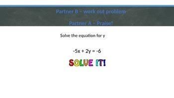 Algebra Review Partner Pair Activity for Algebra 2