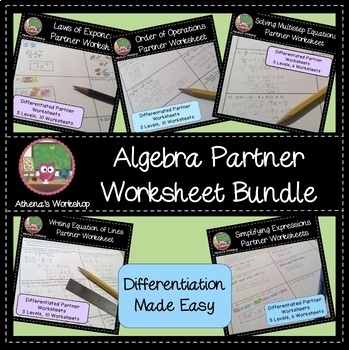 Algebra Partner Worksheets Bundle