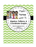 Algebra, Patterns, & Coordinate Graphs (Aligned to Math Ex