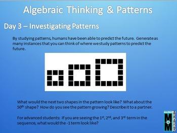 Algebra & Patterns Daily Math Slides