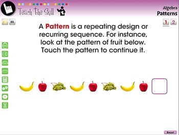 Algebra: Patterns - Pre-Assessment & Teach the Skill - NOTEBOOK Gr. 3-5