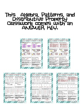 Algebra, Patterns, and Distributive Property Classwork