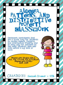 Algebra, Patterns, and Distributive Property Classwork