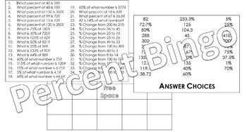 Algebra Percent Bingo