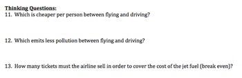 Algebra Performance Task: Taking a plane vs. driving - Common Core