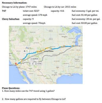Algebra Performance Task: Taking a plane vs. driving - Com