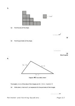 Algebra: Perimeter and Forming Equations Exam Questions (with Answers)