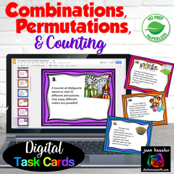 Algebra Permutations and Combinations with GOOGLE Slides Digital Task Cards