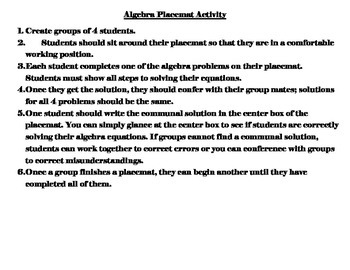 Algebra Placemat Activity (Addition and Subtraction Equations)