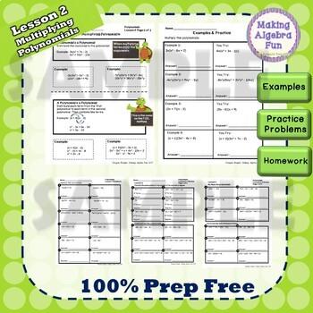 Algebra Polynomials BUNDLE Lesson Notes Practice Homework Quiz & Test