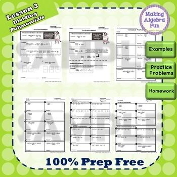 Algebra Polynomials Lesson Notes Practice Homework Quiz & Test Bundle