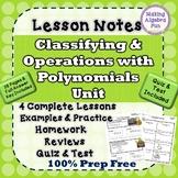 Algebra Polynomials Lesson Notes Homework Quiz & Test Bund