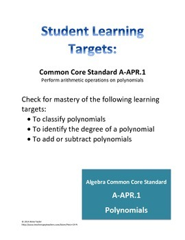 Polynomials Simplify Classify Exit Tickets Bell Work Quiz Formative Assessments