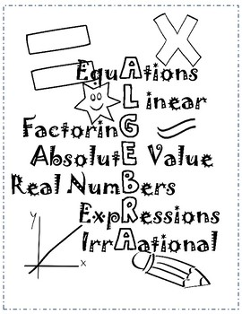 Algebra Poster/Coloring Sheet