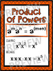 Algebra Poster: Exponent Rules (Product of Powers)
