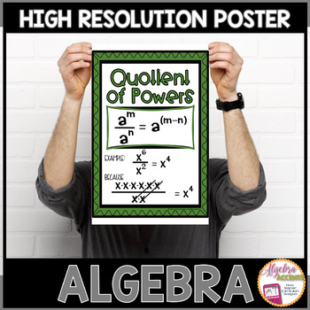 Algebra Poster: Exponent Rules (Quotient of Powers)