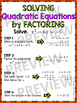 Algebra Poster: Quadratic Function (Solving by Factoring)