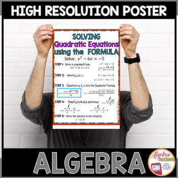 Algebra Poster: Quadratic Functions (using the Formula)