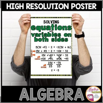 Algebra Poster: Solving Equations with Variables on Both Sides