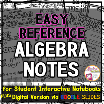 Algebra Student Notes for Interactive Notebooks with bonus