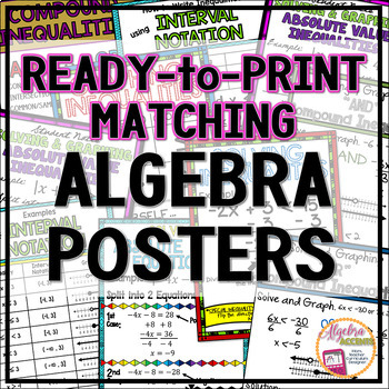 Algebra Posters for Word Walls plus Student Notes for Interactive Notebooks