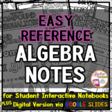 High School Math Posters / Algebra 1 Anchor Charts plus Matching Student Notes