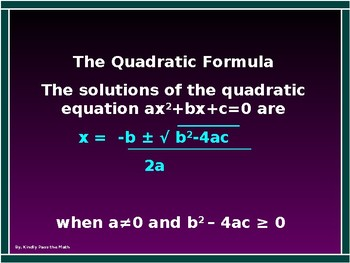 Algebra  Power Point Using the Quadratic  Formula with GUIDED NOTES