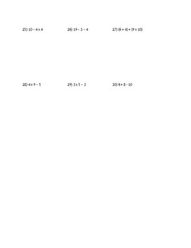 Order of Operation Algebra Practice