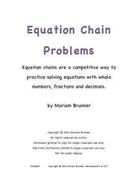 Algebra Practice - Equation Chains - Common Core