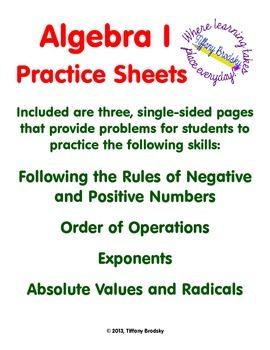 Algebra Practice Sheets