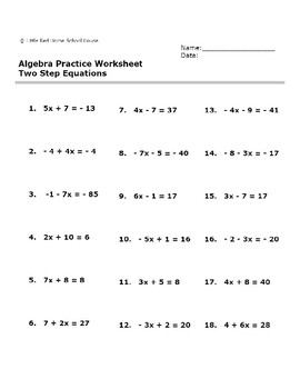 algebra practice worksheet two step equations with answer key. Black Bedroom Furniture Sets. Home Design Ideas