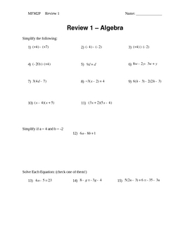 Algebra Practice from Integers to Solving Equations