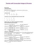 Algebra:  Practice with Consecutive Integers & Percents