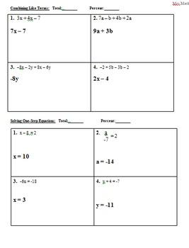Algebra Pre-Test for Assessing Computational & Pre-Algebra Skills (Mrs Math)