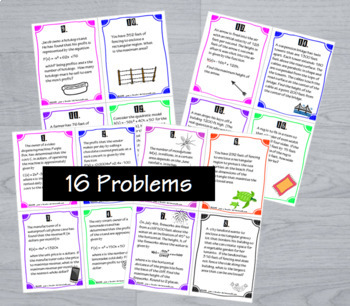 Applications of Quadratics Task Cards plus Guided Notes