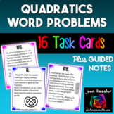 Quadratics Word Problems Task Cards plus Guided Notes Distance Learning