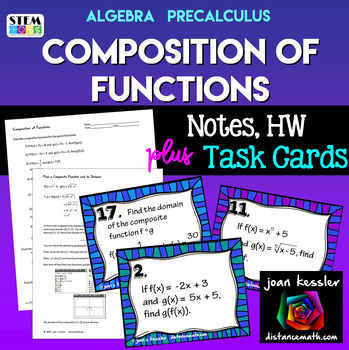 Algebra PreCalculus Composition of Functions Task Cards  and more