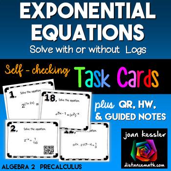 Algebra PreCalculus Exponential Equations Task Cards Guide