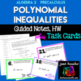 Polynomial Inequalities Task Cards  Guided Notes Quiz