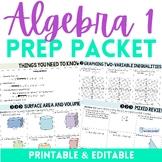 Algebra 1 Summer Prep Packet