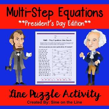 Algebra President's Day Activity: Multi-Step Equations