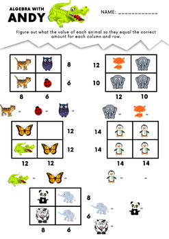 Algebra Problems With Andy - Grades 1 - 2